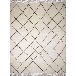 Fine Moroccan Saeed Ivory Wool Rug (9' x 12')