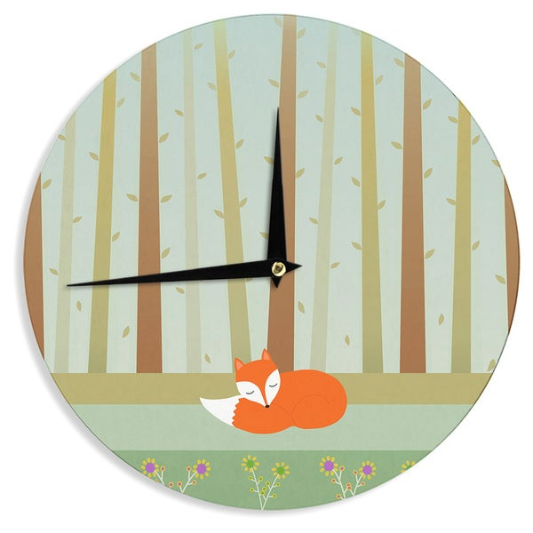 KESS InHouse Cristina bianco Design 'Sleeping Fox' Green Illustration Wall Clock