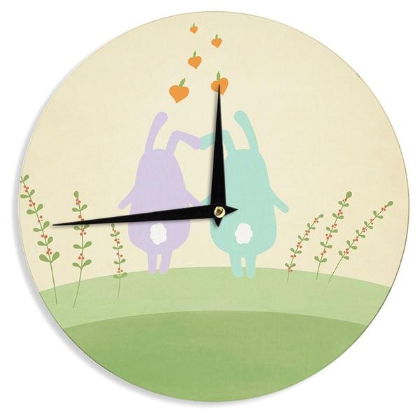 KESS InHouse Cristina bianco Design 'Cute Bunnies' Beige Animals Wall Clock