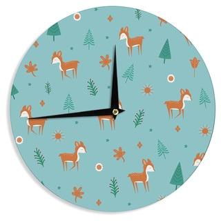 KESS InHouse Cristina bianco Design 'Cute Deer Pattern' Teal Kids Wall Clock