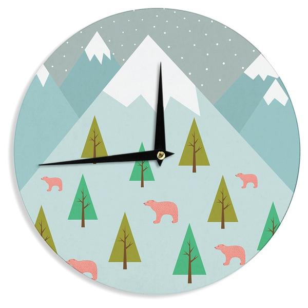 KESS InHouse Cristina bianco Design 'Bears Illustration' Blue Nature Wall Clock