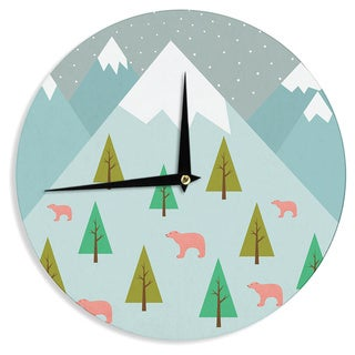 KESS InHouse Cristina bianco Design 'Bears Illustration' Blue Nature Wall Clock