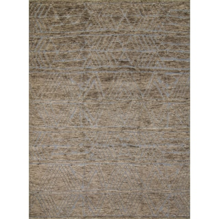 Nurik Blue/Grey Wool Fine Moroccan Area Rug (9' x 12')