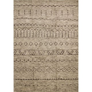 Hand Knotted Fine Moroccan Blaxton Light Brown Wool Rug (9' x 12')