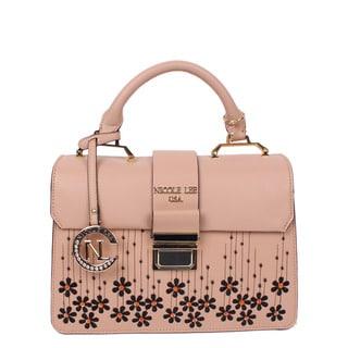 Nicole Lee Rosalie Peach Faux Leather Floral Emboidery Handbag