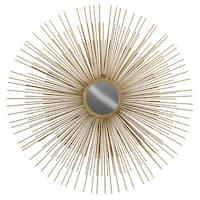 Urban Trebds Collection Gold Finish Metallic Round Wall Mirror with Sunburst Design