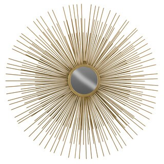 Urban Trebds Collection Gold Finish Metallic Round Wall Mirror with Sunburst Design