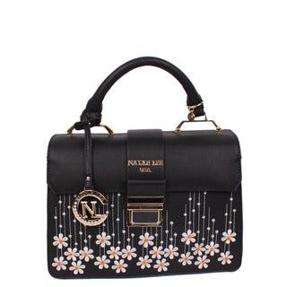 Nicole Lee Rosalie Black Floral Embroidery Handbag