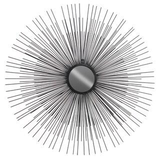 Black Metallic Metal Round Sunburst-design Wall Mirror