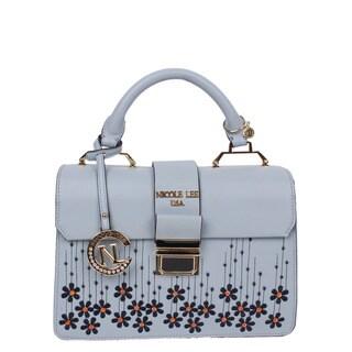 Nicole Lee Rosalie Multicolored Faux-suede/Nylon Floral-emboidery Handbag