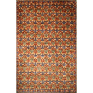 Hand Knotted Fine Oushak Doha Green/Rust Wool Oriental Area Rug (12'2 x 17'9)
