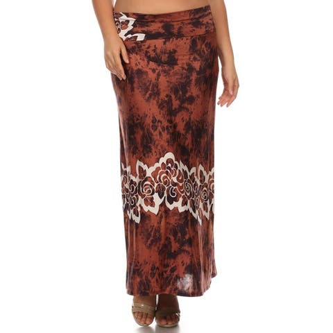 Women's Multicolored Plus-size Floral Band Maxi Skirt