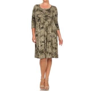 Women's Rayon/Spandex Plus-size Tie-dye Dress