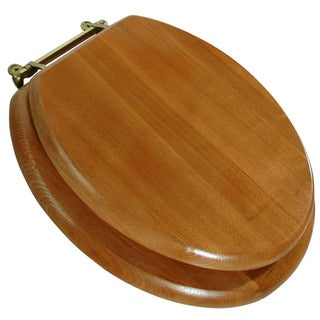 LDR 050 1700 Round Wood Toilet Seat With Polished Brass Finish Hinges