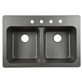 "Fhp FTB904BX 33"" X 22"" X 9"" Black Four Hole Sink"