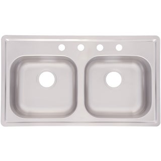 "Fhp FMSB654NB 6.5"" Satin Finish Double Bowl Topmount Mobile Home Sink"