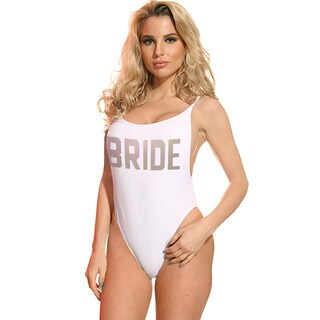 Famous Maker Women's White Bride High-cut Vintage One Piece