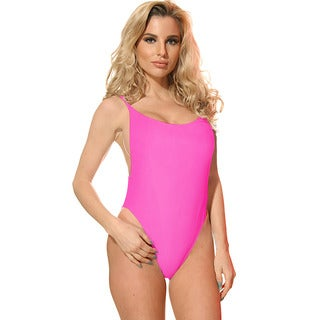 Dippin' Daisy's Women's Solid Neon Pink Nylon/Spandex High-cut Vintage 1-piece Swimsuit