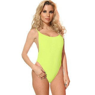 Dippin' Daisy's Women's Solid Neon Yellow Nylon/Spandex High-cut Vintage 1-piece Swimsuit