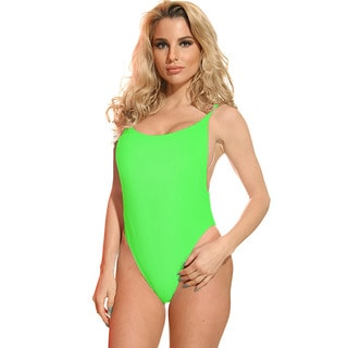 Dippin' Daisy's Women's Neon Green Spandex High Cut Vintage One Piece Swimsuit