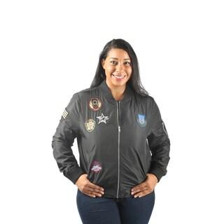 Hadari Women's Plus Size Long Sleeve FrontL Zip Bomber Jacket with Patches