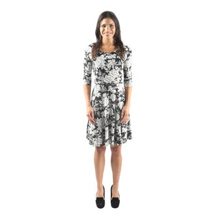 Hadari Women's Short Sleeve Scoop Neck Floral A-Line Dress