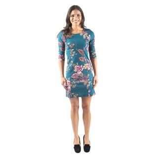 Hadari Women's Short Sleeve Round Neck Short Floral Bodycon Sheath Dress