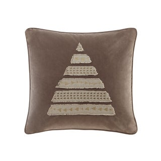 Madison Park Metallic Novelty Tree Taupe Square Throw Pillow