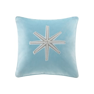 Madison Park Golden Snowflake Aqua Square Throw Pillow
