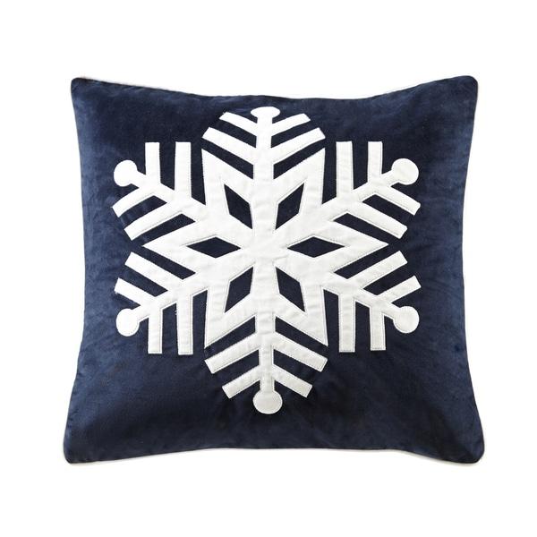 Madison Park Velvet Snowflake Navy Square Throw Pillow - Free Shipping On Orders Over $45 ...