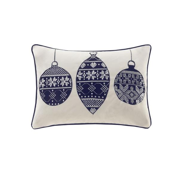 Madison Park Velvet Ornament Ivory/ Navy Oblong Pillow