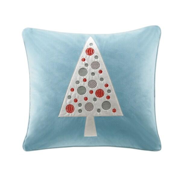 Madison Park Velvet Novelty Tree Blue Square Throw Pillow