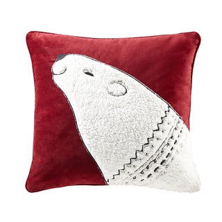 Madison Park Blissful Holiday Bear Red Square Throw Pillow