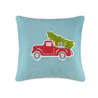 Madison Park Holiday Delivery Blue Square Throw Pillow