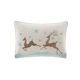 Madison Park Winter Prancers White Oblong Throw Pillow