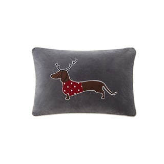 Madison Park Dasher The Sleigh Dog Grey Oblong Throw Pillow