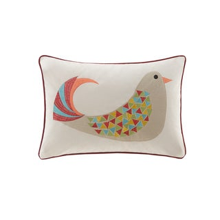 Madison Park Holiday Partridge Red Oblong Throw Pillow