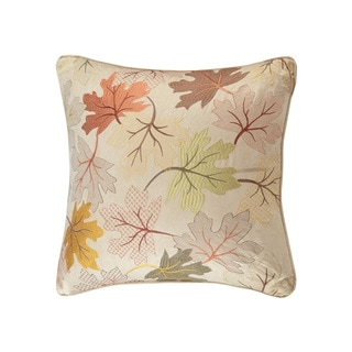 Madison Park Fallen Leaves Tan Embroidered Square Throw Pillow