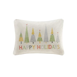 Madison Park Happy Holidays Ivory Oblong Throw Pillow
