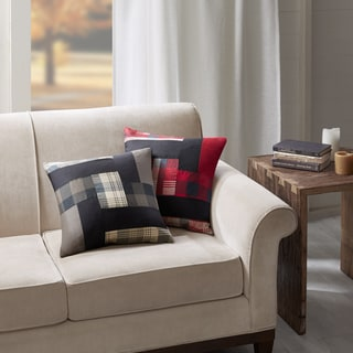 Woolrich Patchwork Taupe Cotton Square Pillow