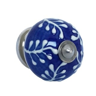Blue with Raised White Design Drawer Pulls Pack of 6