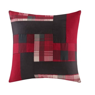 Woolrich Patchwork Red Cotton Square Throw Pillow