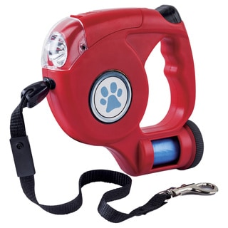 Red Nylon/Plastic Retractable Dog Leash With LED Light and Waste Bag Dispenser