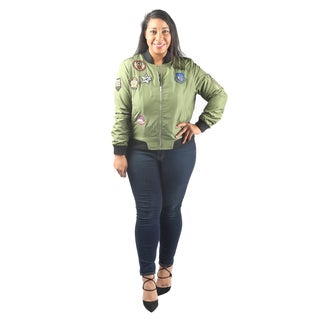 Hadari Women's Plus Size Long Sleeve Zipper Bomber Jacket with Patches and frontal pockets