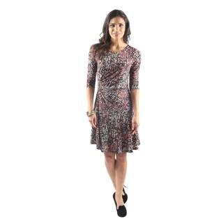 Hadari Women's Short Sleeve Boatneck Knee Length Floral Shift Dress