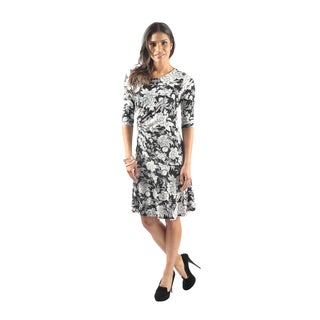 Hadari Women's Short Sleeve Boatneck Knee Length Floral Shift Dress