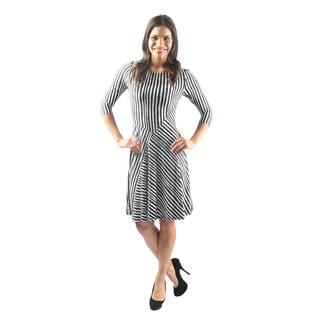 Hadari Women's 3/4 Sleeve Boatneck Shift Dress