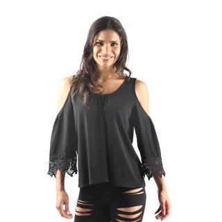 Hadari Women's 3/4 Sleeve Scoop Neck Open Shoulder Party Blouse