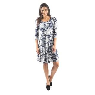 Hadari Women's 3/4 Sleeve Scoop Neck Floral A-Line Dress