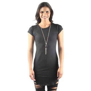 Hadari Women's Cap Sleeve Round Neck Mini Bodycon Dress